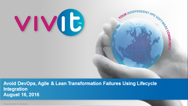 Avoid DevOps, Agile and Lean Transformation Failures Using Lifecycle Integration