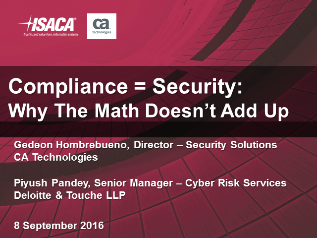 Compliance = Security: Why the Math Doesn't Add Up