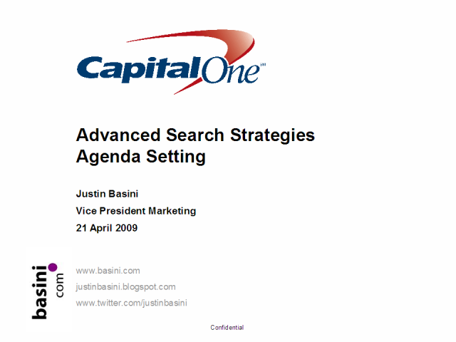 Advanced Search Strategies - setting the agenda