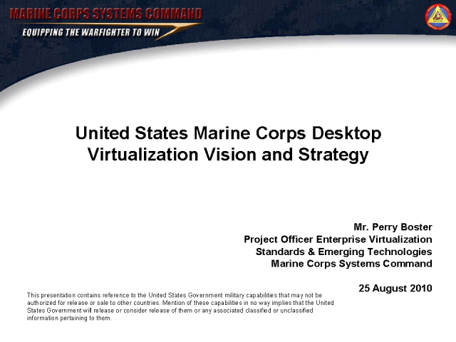 Marine Corps Desktop Virtualization Vision and Strategy