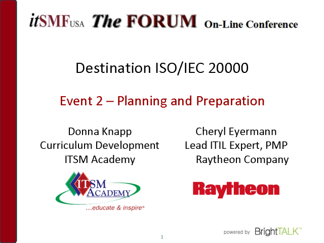 Dest:ISO/IEC 20000:Getting Started–Planning & Preparation