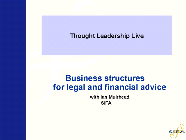 Business Structures for Legal and Financial Advice