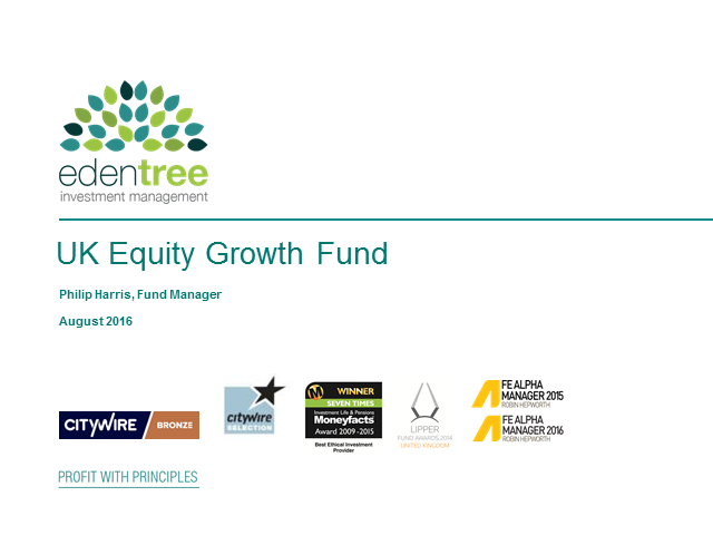 EdenTree UK Equity Growth Fund Update