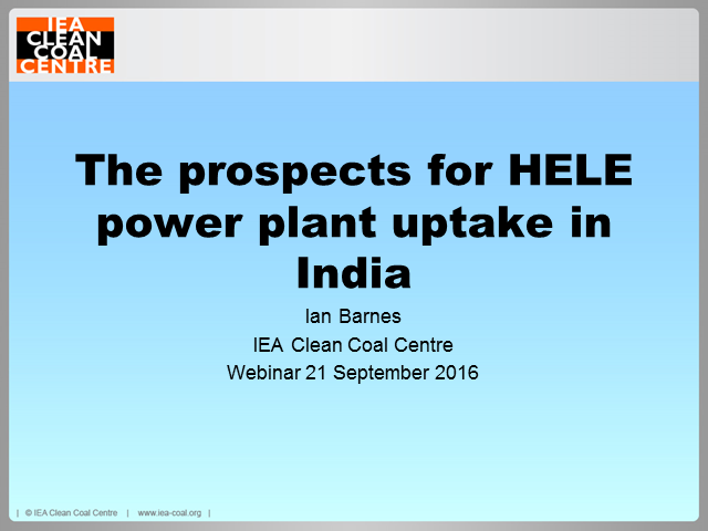 Prospects for HELE power plant uptake in India