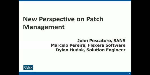 """A New Perspective on Patch Management"" with the SANS Institute"