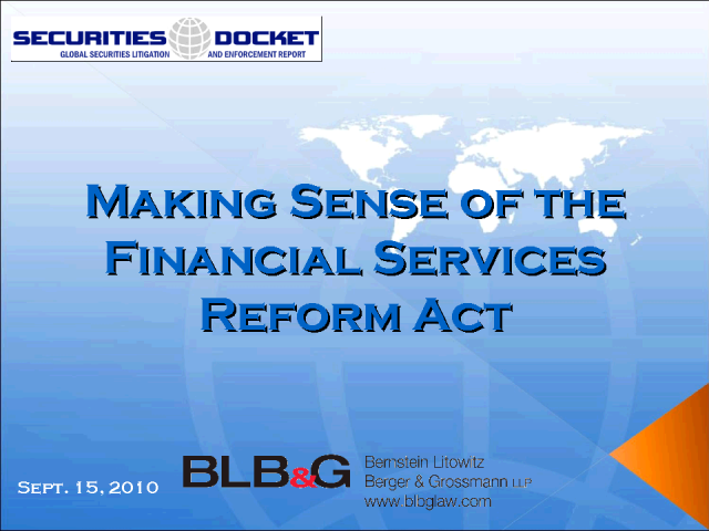 Making Sense of the Financial Services Reform Act