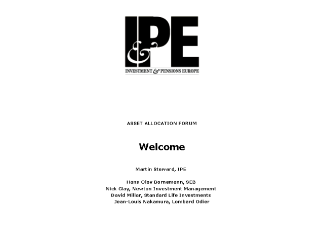 IPE Asset Allocation Forum