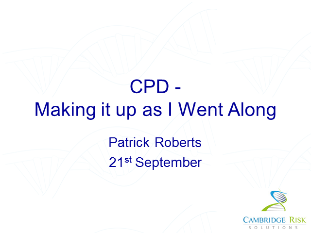 CPD – making it up as I went along