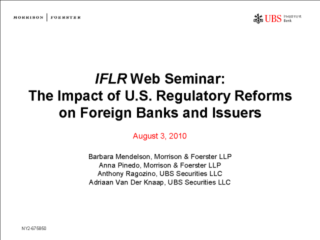 The impact of US regulatory reforms on foreign banks and issuers