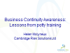 Business continuity awareness: Lessons from potty training