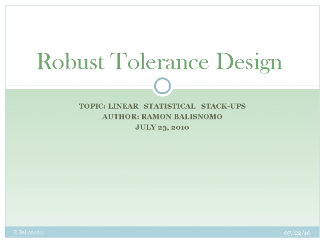 Robust Tolerance Design
