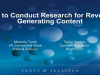 How to Conduct Research for Revenue Generating Content