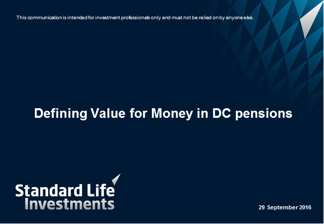 Defining value for money in DC pensions