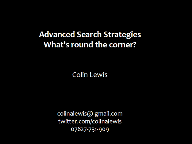 Advanced Search Strategies - getting full value in 2009