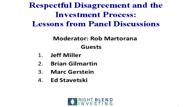 Respectful Disagreement & the Investment Process: Lessons from Panel Discussions