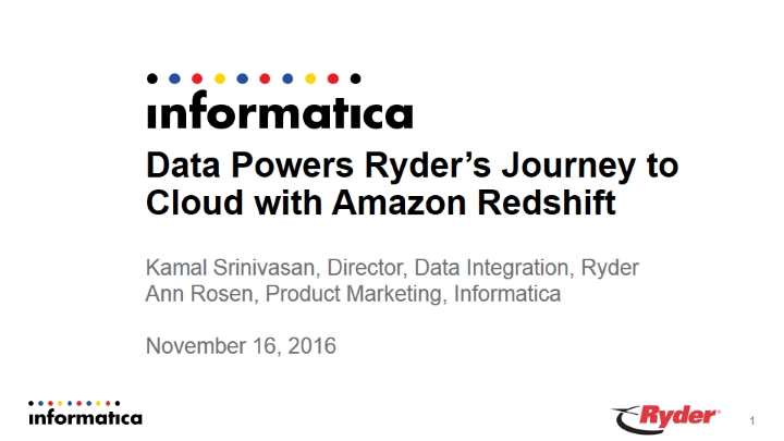 Data Powers Ryder's Journey to Cloud with Amazon Redshift