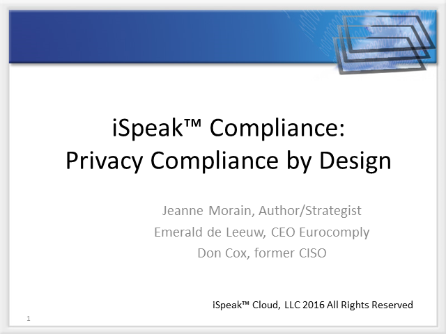iSpeak™: Compliance:  Privacy Shield (Safe Harbor) Update