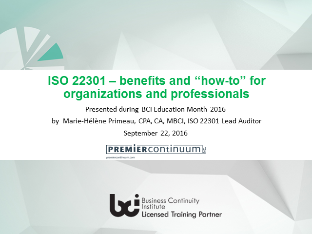 ISO 22301 – benefits and 'how-to' for organizations and professionals