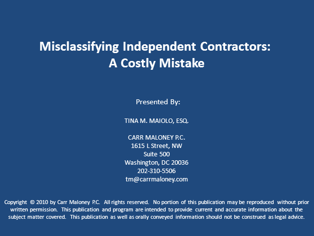 Misclassifying the Independent Contractor- A Costly Mistake