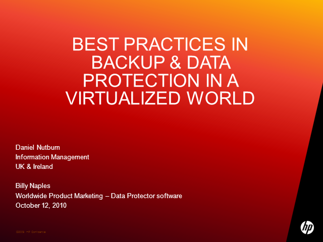 Best Practice in Backup & Data Protection in a Virtualized World