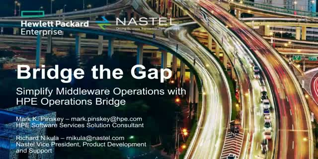 Bridge the gap. Simplify Middleware Operations with HPE OpsBridge.