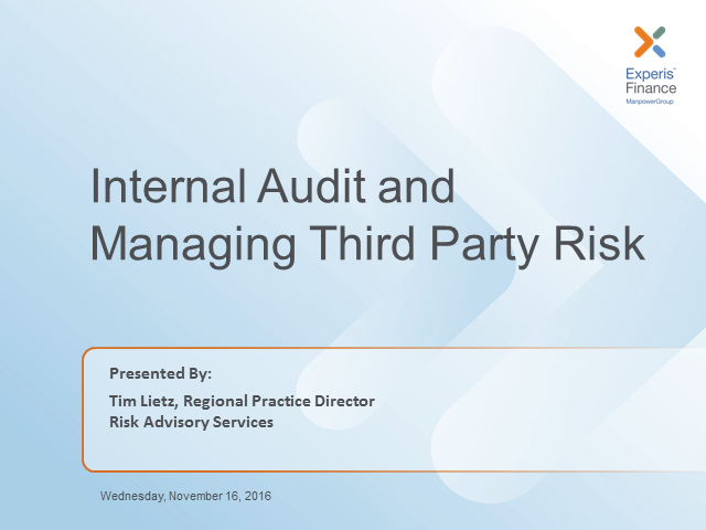 Internal Audit and Third Party Risk