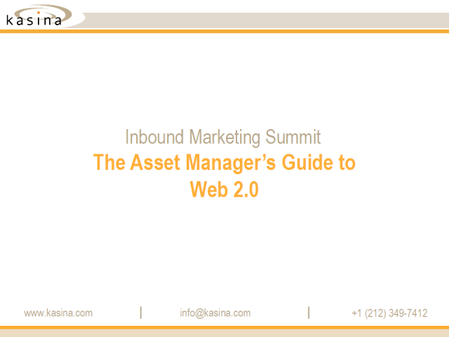 The Asset Manager's Guide to using Web 2.0