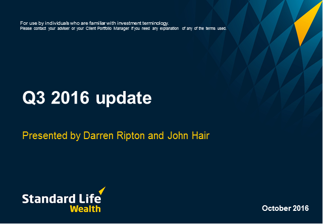 Standard Life Wealth quarterly update Q3 2016