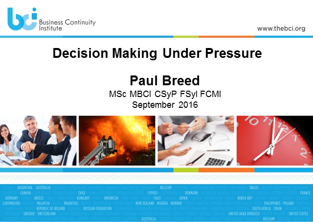 Decision making under pressure
