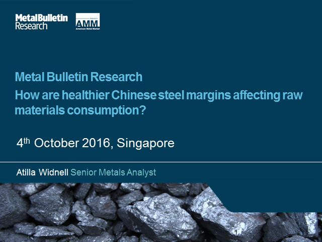 How are healthier Chinese steel margins affecting raw materials consumption?