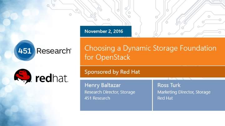 Choosing a Dynamic Storage Foundation for OpenStack