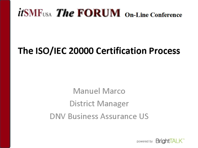The ISO/IEC 20000 Certification Process