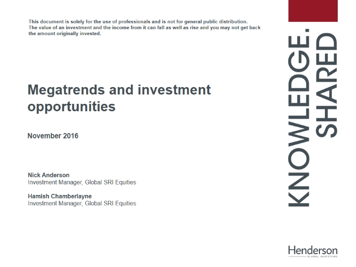 SRI: Megatrends and investment opportunities (CPD Accredited)
