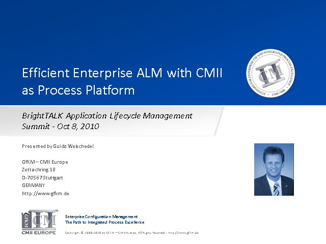 Efficient Enterprise ALM with CMII as Process Platform