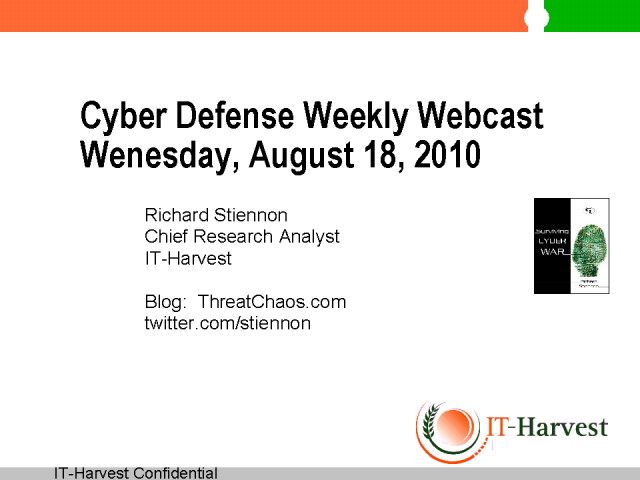 Cyber Defense Weekly AUgust 18, 2010