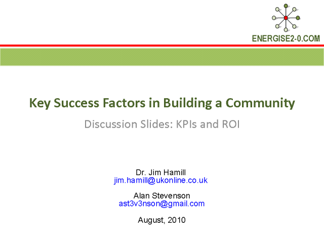 Key Success Factors in Building a Community