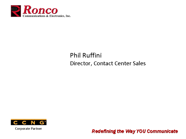 Introducing CCNG partner - Ronco Communications