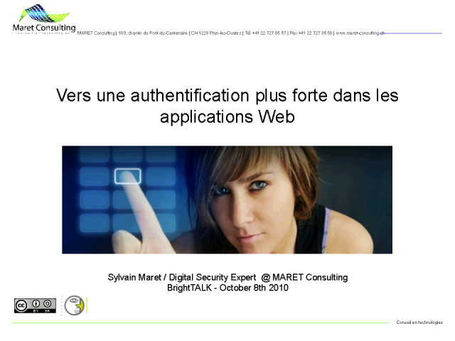 Vers une authentification plus forte dans les applications web