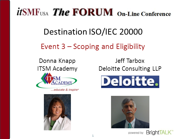 Destination ISO/IEC 20000: Scoping and Eligibility
