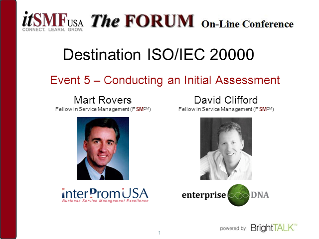 Destination ISO/IEC 20000: Conducting an Initial Assessment