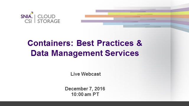 Containers: Best Practices and Data Management Services