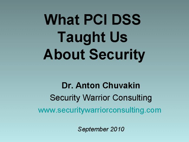 What PCI DSS Taught Us About Security