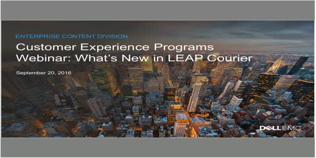 LEAP Customer Experience Programs Webinar | Dell EMC