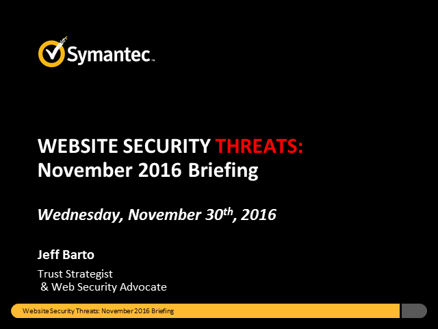 Symantec Website Security Threats - November Briefing