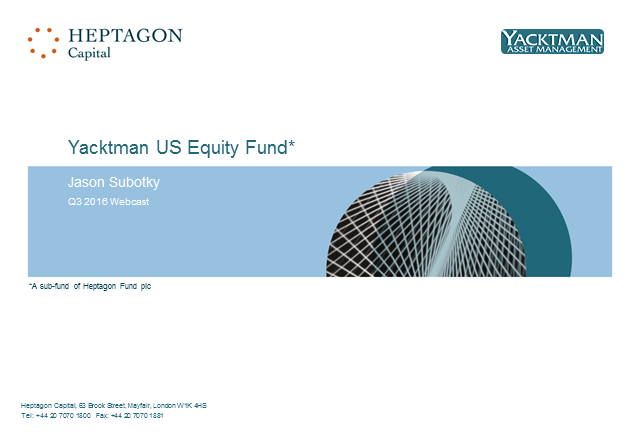 Yacktman US Equity Fund Q3 2016 Webcast