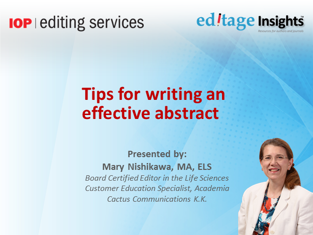 Tips for writing an effective, marketable abstract