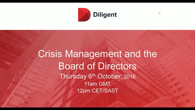 Crisis Managment and the Board of Directors