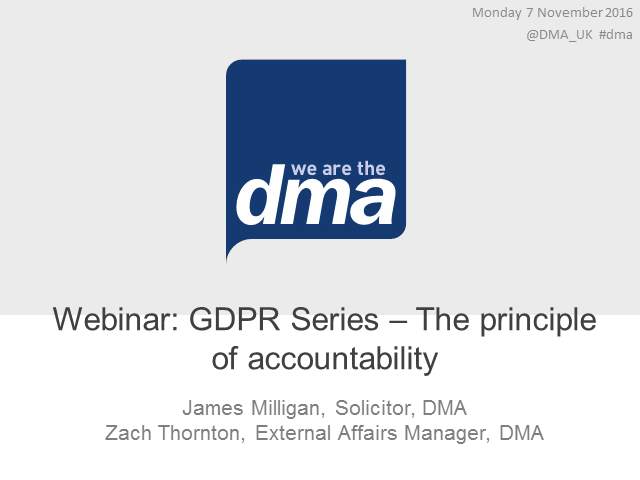Webinar: GDPR Series – The principle of accountability