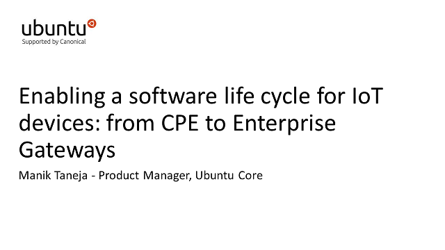 Enabling a software life cycle for IoT devices: from CPE to Enterprise Gateways