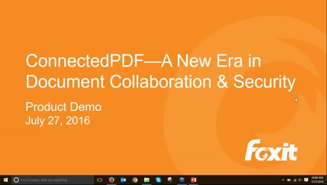 Foxit Software Webinar: Learn More about ConnectedPDF
